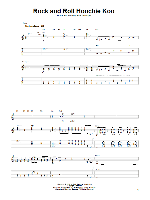 Tablature guitare Rock And Roll Hoochie Koo de Rick Derringer - Tablature Guitare