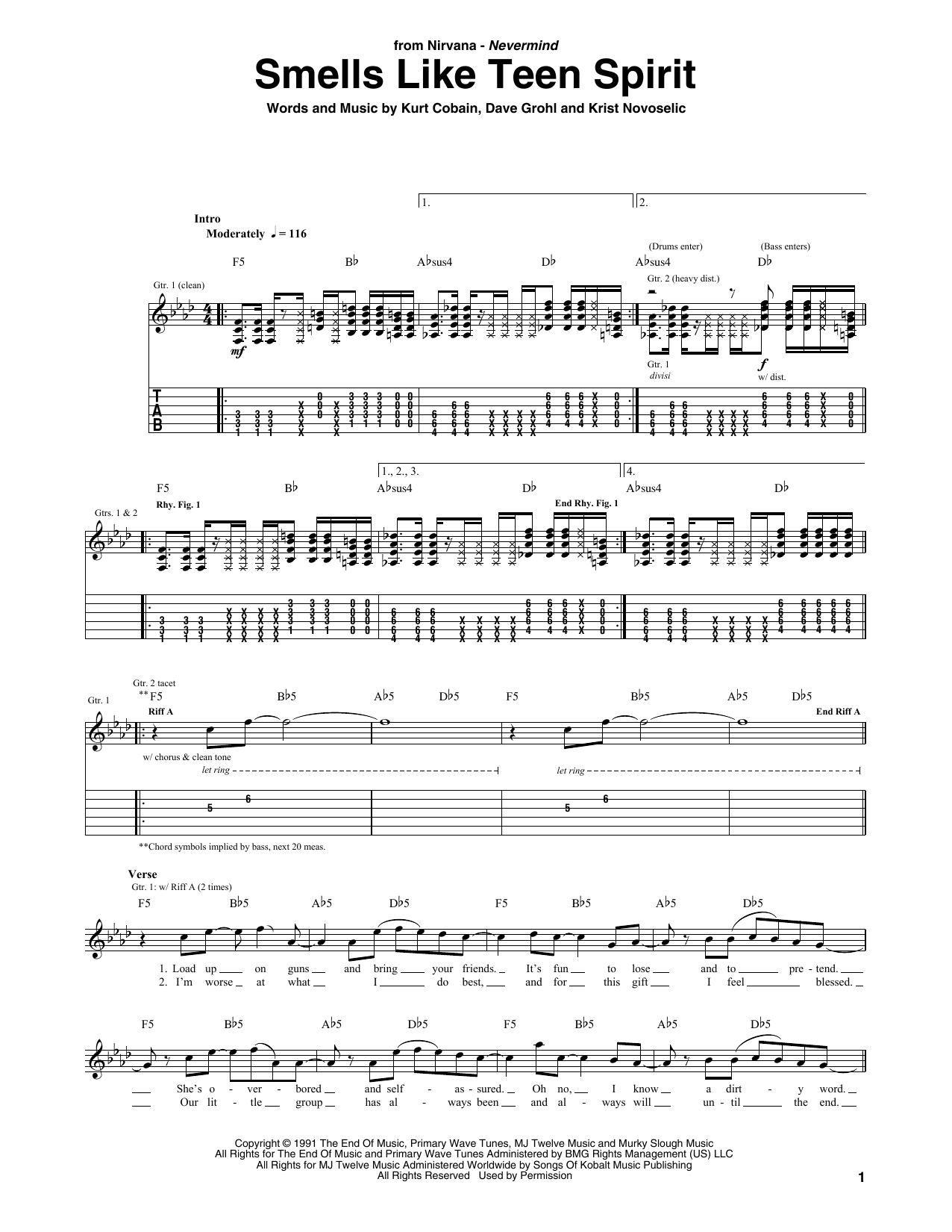 Smells Like Teen Spirit Sheet Music