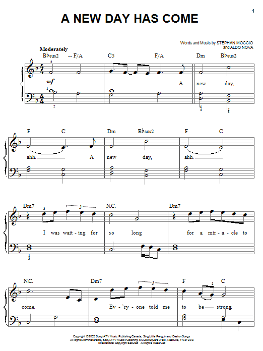 A New Day Has Come Sheet Music