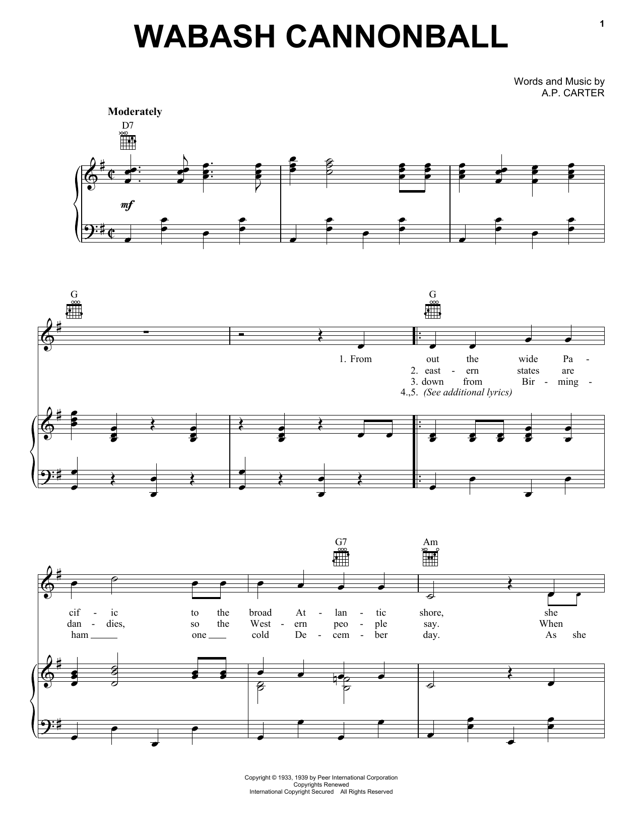 Wabash Cannonball (Piano, Vocal & Guitar (Right-Hand Melody))