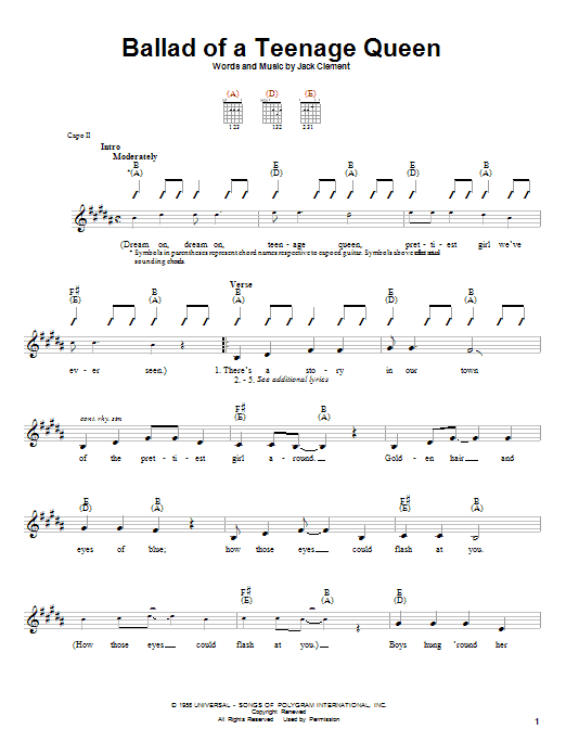 Ballad Of A Teenage Queen Sheet Music