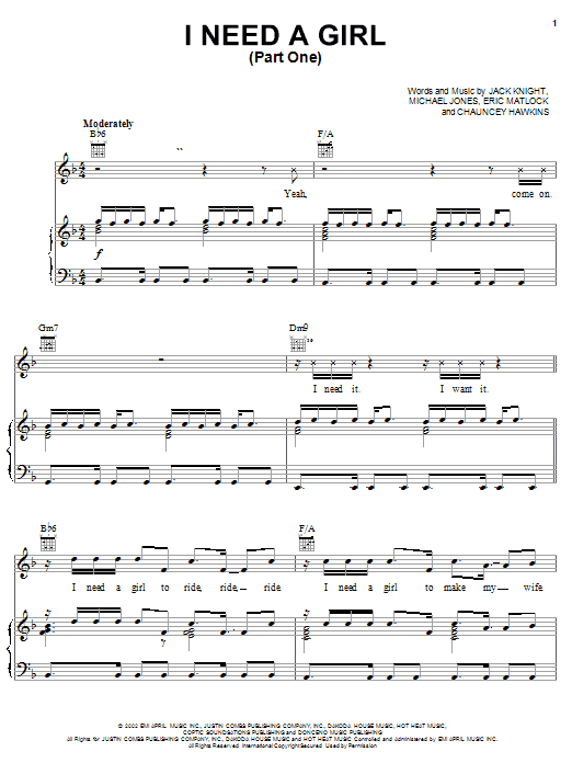 I Need A Girl (Part One) (feat. Usher & Loon) Sheet Music