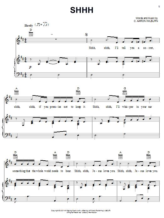 Partition piano Shhh de C. Aaron Wilburn - Piano Voix Guitare (Mélodie Main Droite)