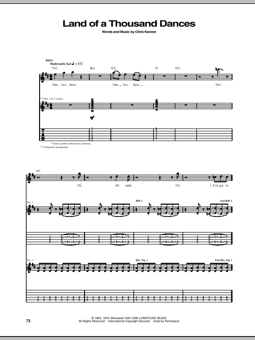 Tablature guitare Land Of A Thousand Dances de Chris Kenner - Tablature Guitare