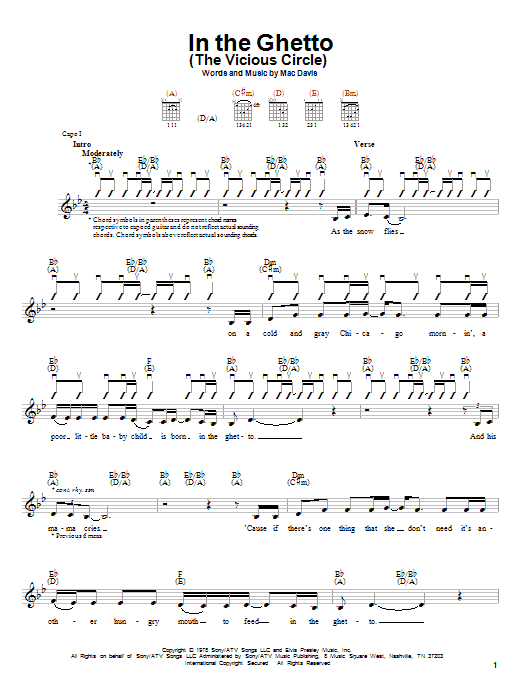 Tablature guitare In The Ghetto (The Vicious Circle) de Elvis Presley - Autre