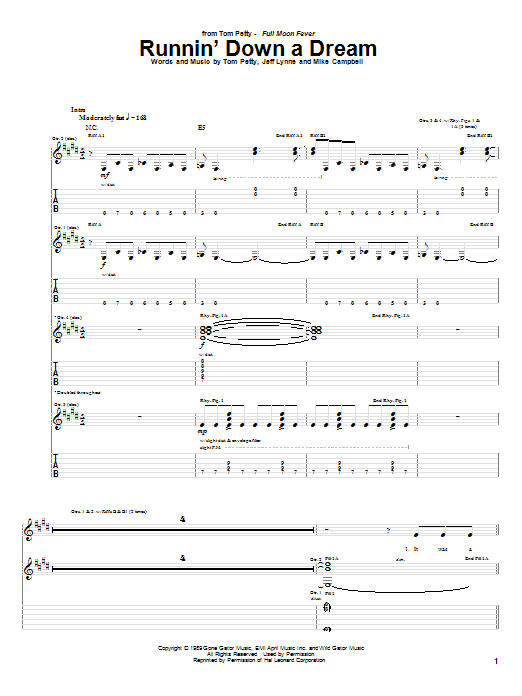 Tablature guitare Runnin' Down A Dream de Tom Petty - Tablature Guitare