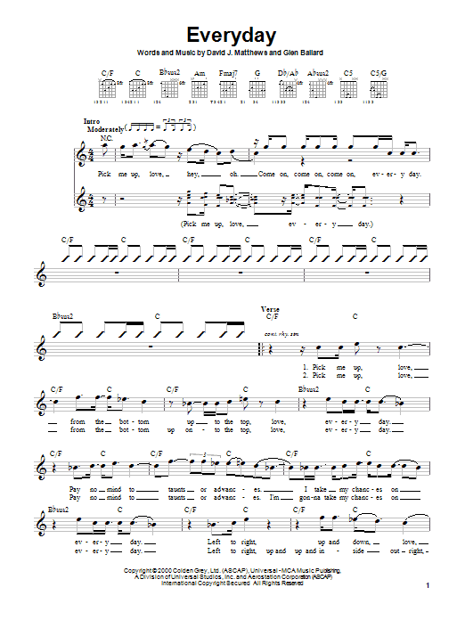 Tablature guitare Everyday de Dave Matthews Band - Autre