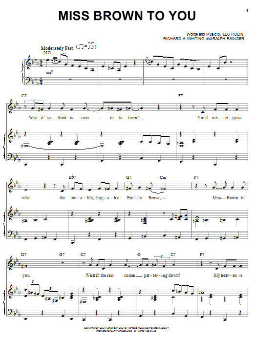 Miss Brown To You Sheet Music