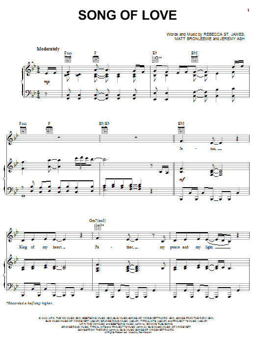 Song Of Love (Piano, Vocal & Guitar (Right-Hand Melody))