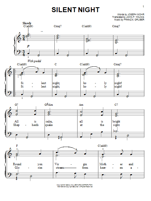 image about Silent Night Lyrics Printable known as Quiet Night time (Straightforward Piano) - Print Sheet Songs By now