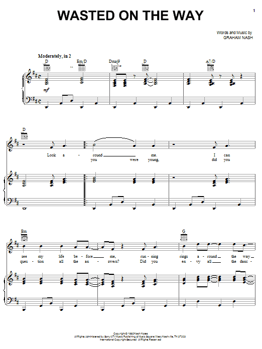 Wasted On The Way Sheet Music