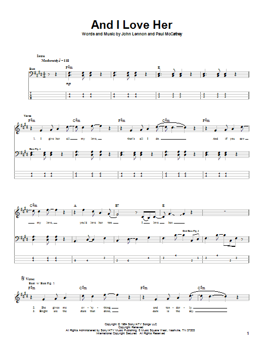 And I Love Her (Bass Guitar Tab)