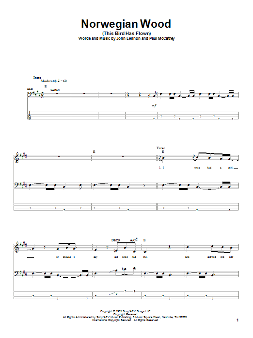 Tablature guitare Norwegian Wood (This Bird Has Flown) de The Beatles - Tablature Basse