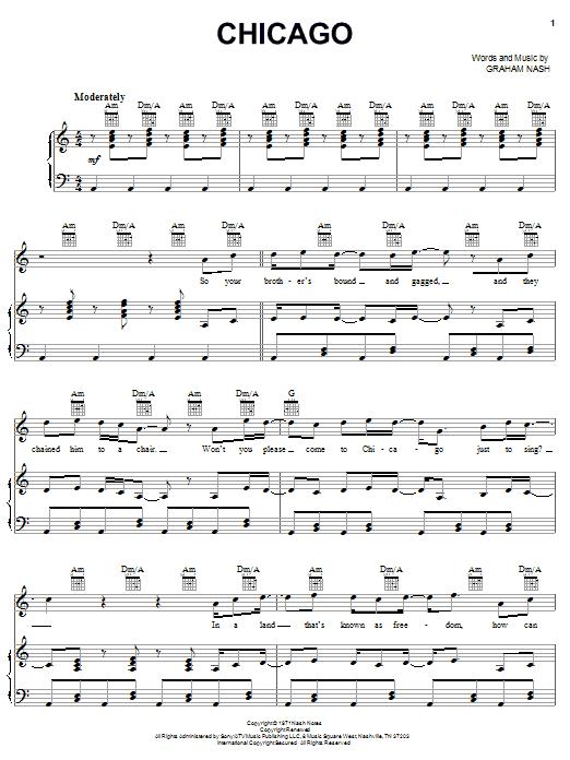 Partition piano Chicago de Crosby, Stills & Nash - Piano Voix Guitare (Mélodie Main Droite)