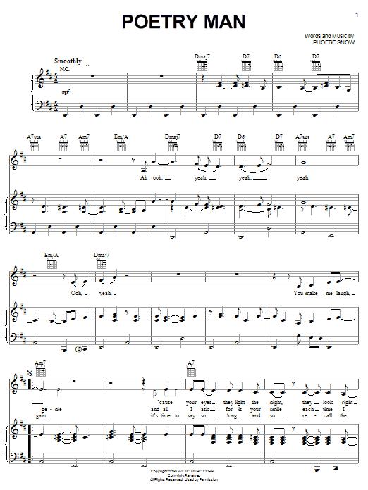 Partition piano Poetry Man de Phoebe Snow - Piano Voix Guitare (Mélodie Main Droite)