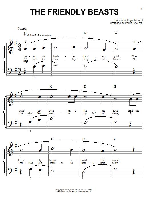 Partition piano The Friendly Beasts de Traditional English Carol - Piano Facile