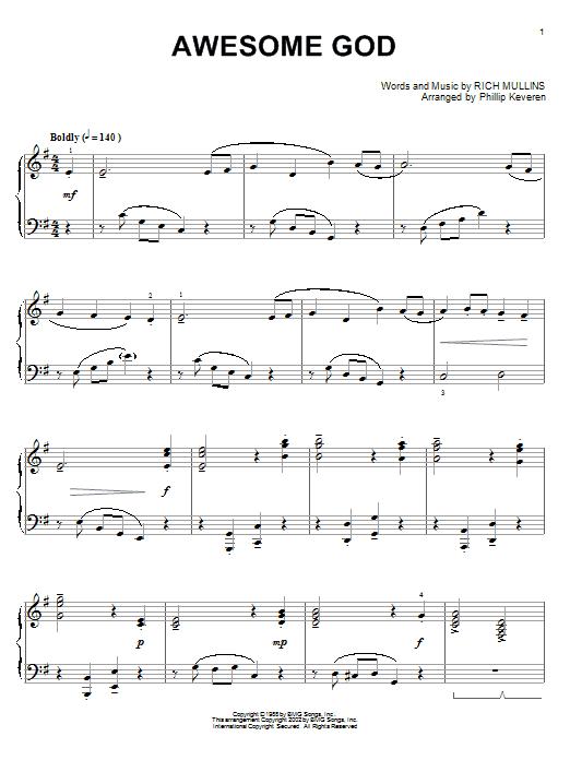 Partition piano Awesome God de Rich Mullins - Piano Solo
