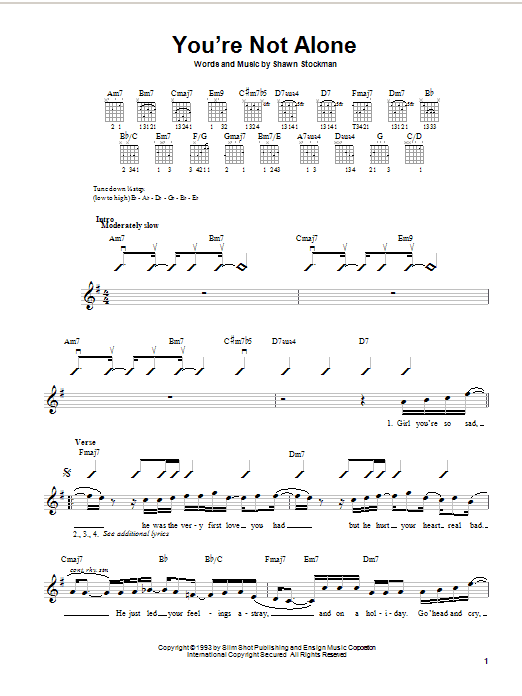 You're Not Alone Sheet Music