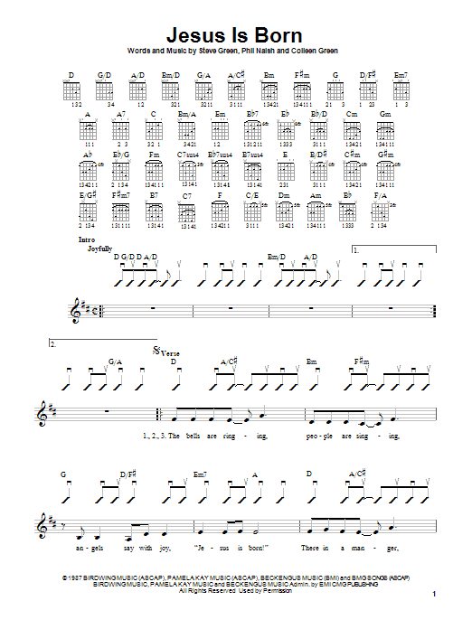 Tablature guitare Jesus Is Born de Steve Green - Tablature guitare facile