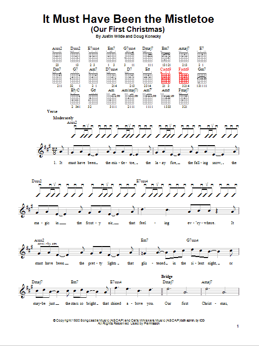 Tablature guitare It Must Have Been The Mistletoe (Our First Christmas) de Barbara Mandrell - Tablature guitare facile