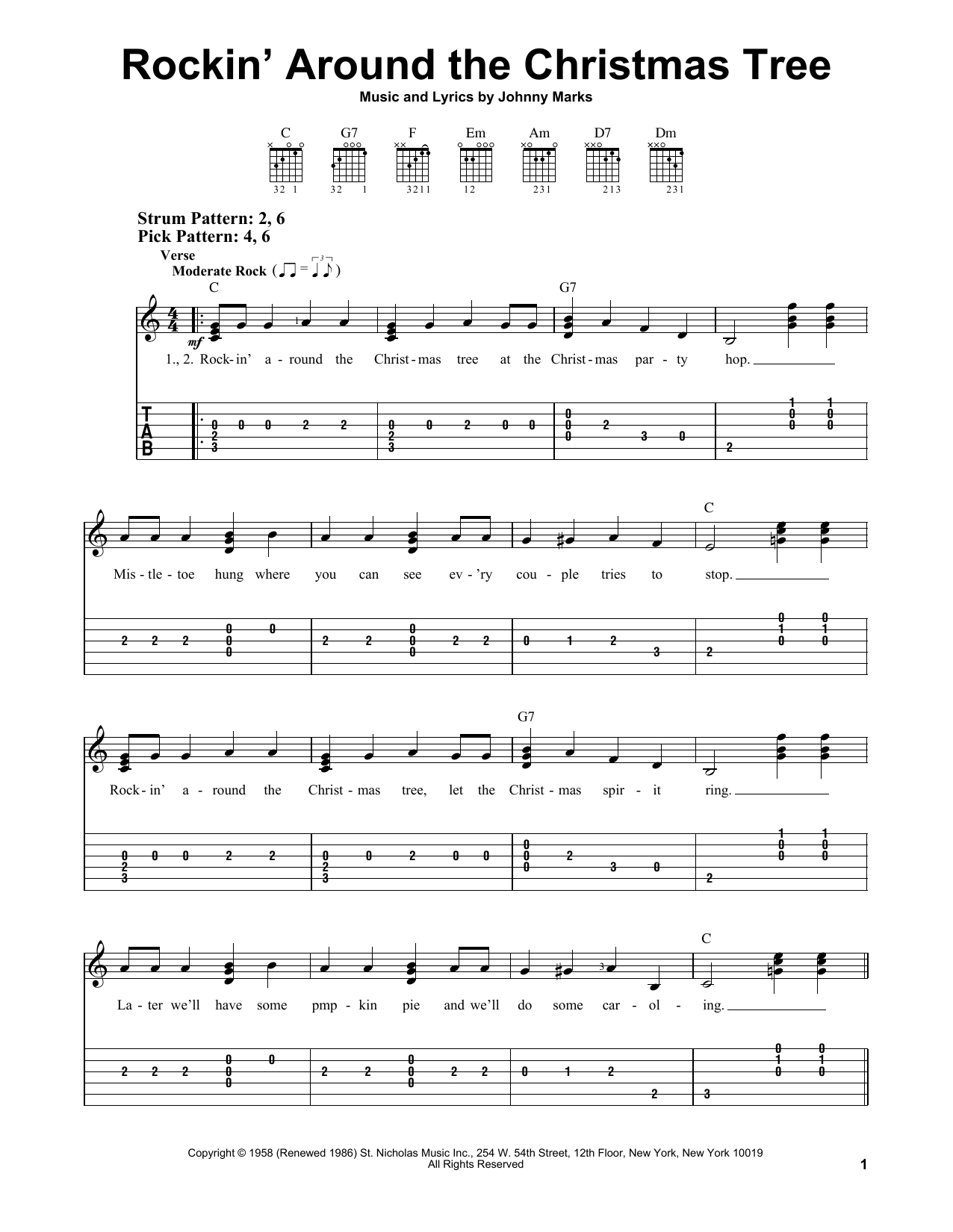 The Most Accurate Tab - Rockin' Around The Christmas Tree By Brenda Lee - Easy Guitar Tab