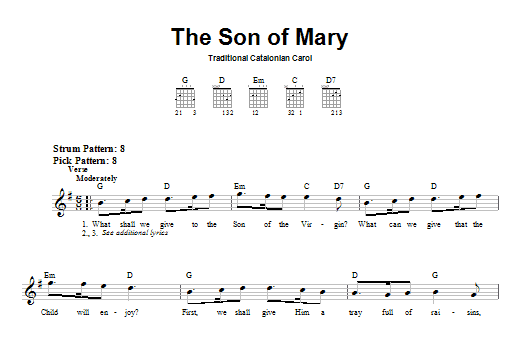 The Son Of Mary Sheet Music