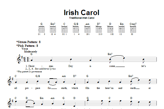 Tablature guitare Irish Carol de Christmas Carol - Tablature guitare facile