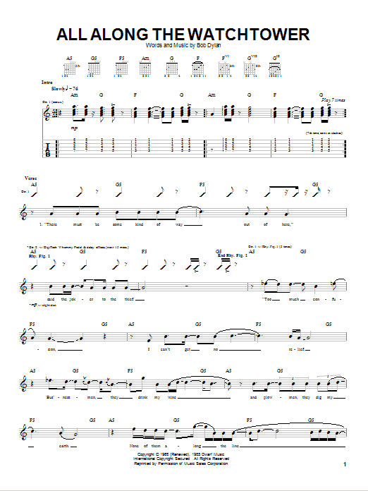 Tablature guitare All Along The Watchtower de Dave Matthews Band - Tablature Guitare