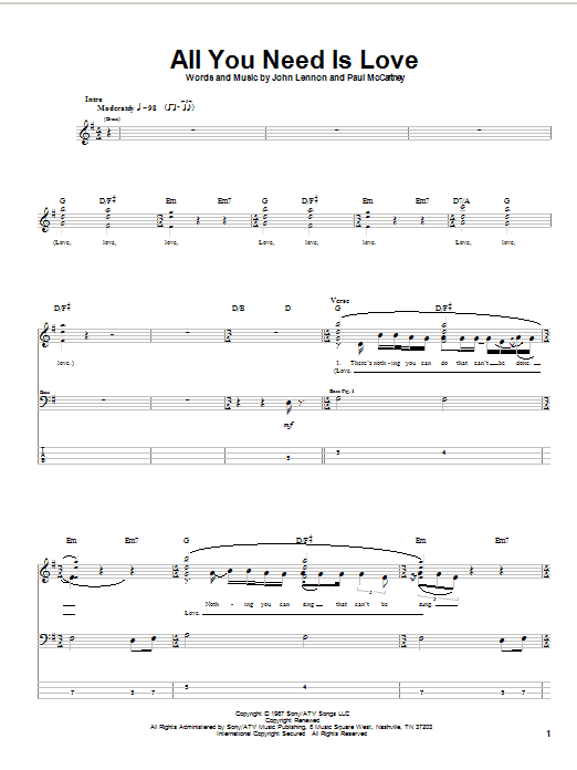 Tablature guitare All You Need Is Love de The Beatles - Tablature Basse