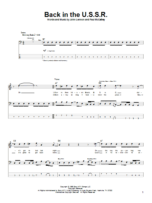 Tablature guitare Back In The U.S.S.R. de The Beatles - Tablature Basse