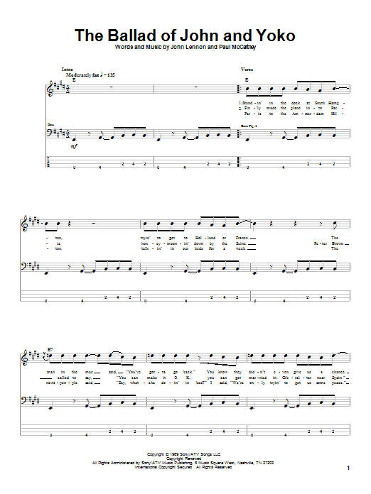 The Ballad Of John And Yoko (Bass Guitar Tab)
