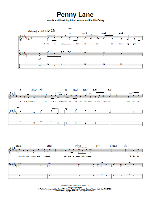 Tablature guitare Penny Lane de The Beatles - Tablature Basse