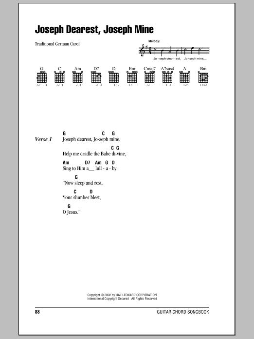 Joseph Dearest, Joseph Mine Sheet Music