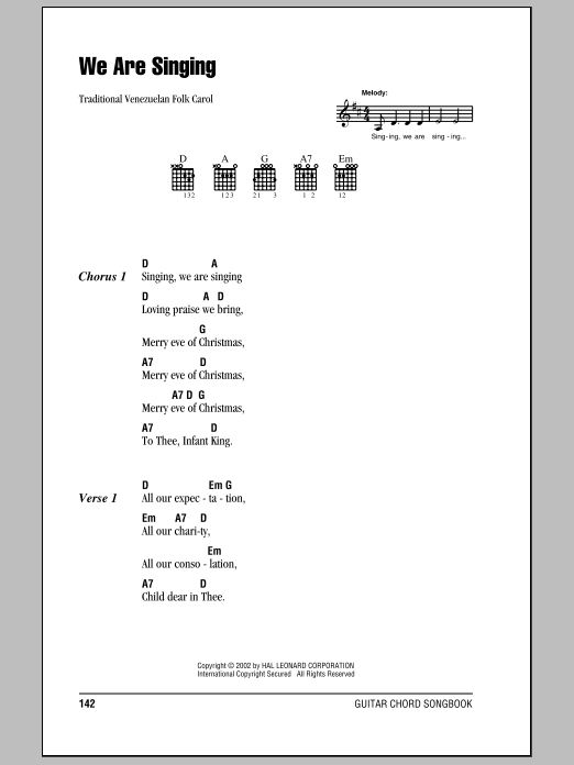 We Are Singing (Guitar Chords/Lyrics)