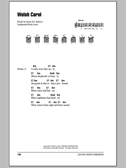 Welsh Carol (Guitar Chords/Lyrics)