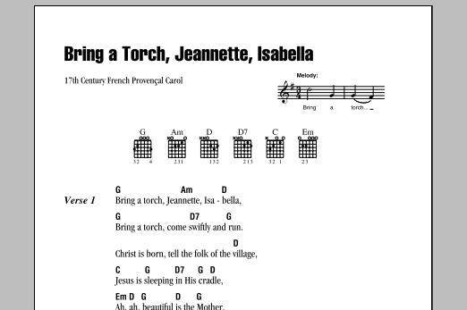 Bring A Torch, Jeannette Isabella Sheet Music