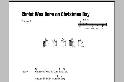 Christ Was Born On Christmas Day (Guitar Chords/Lyrics)