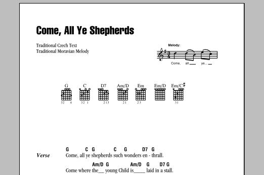 Come, All Ye Shepherds Sheet Music