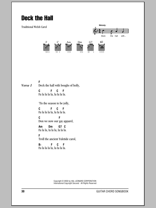 Deck The Hall (Guitar Chords/Lyrics)
