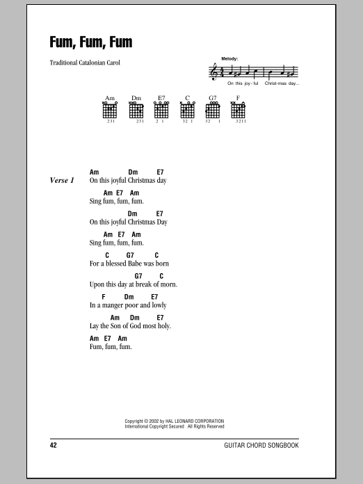 Fum, Fum, Fum Sheet Music