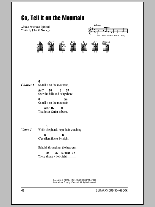 Go, Tell It On The Mountain (Guitar Chords/Lyrics)