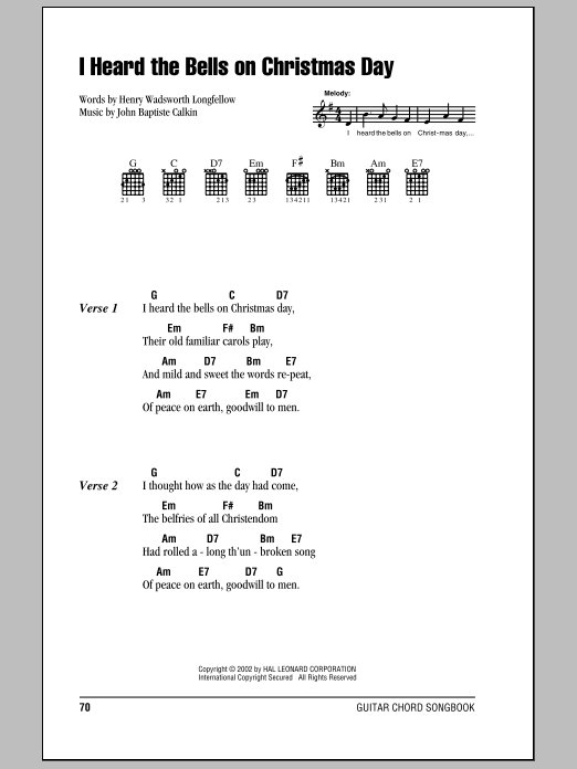 I Heard The Bells On Christmas Day Lyrics.I Heard The Bells On Christmas Day Guitar Chords Lyrics Print Now