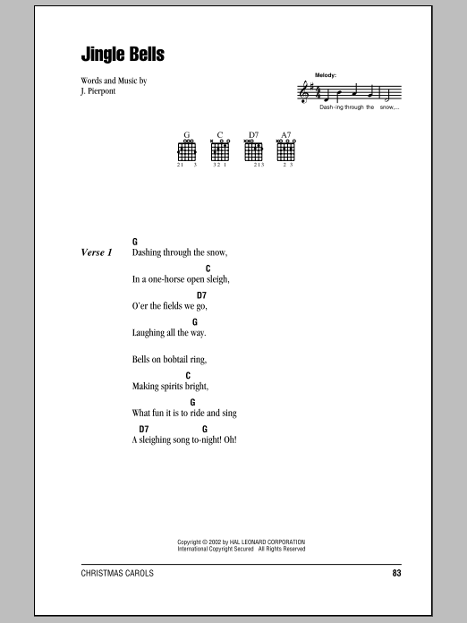 Jingle Bells by J. Pierpont - Guitar Chords/Lyrics - Guitar Instructor