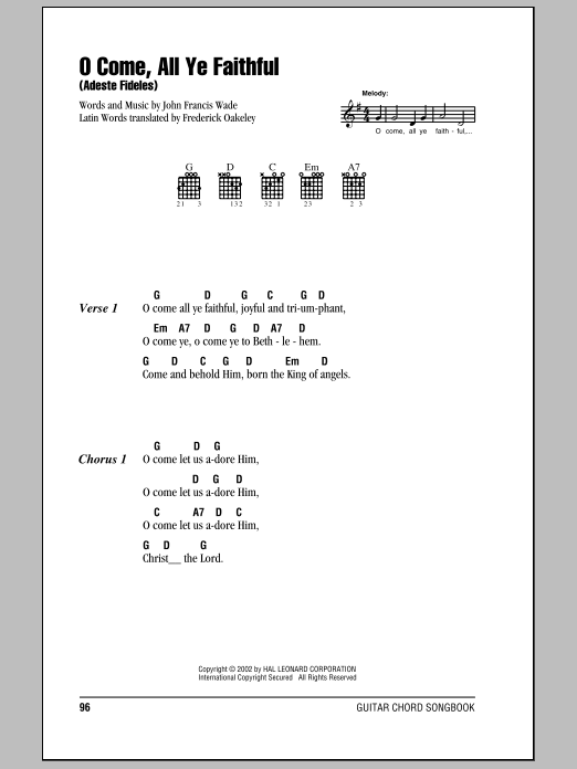 O Come, All Ye Faithful (Adeste Fideles) sheet music by John Francis Wade (Lyrics u0026 Chords u2013 80633)