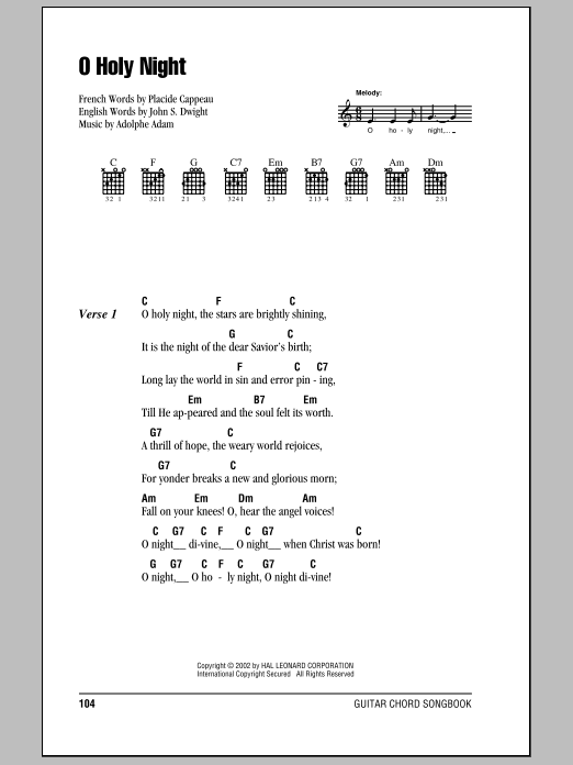 O Holy Night by Adolphe Adam - Guitar Chords/Lyrics - Guitar Instructor