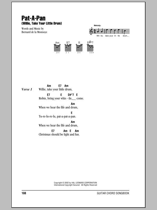 Pat-A-Pan (Willie, Take Your Little Drum) (Guitar Chords/Lyrics)