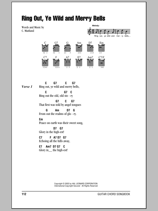 Ring Out, Ye Wild And Merry Bells Sheet Music