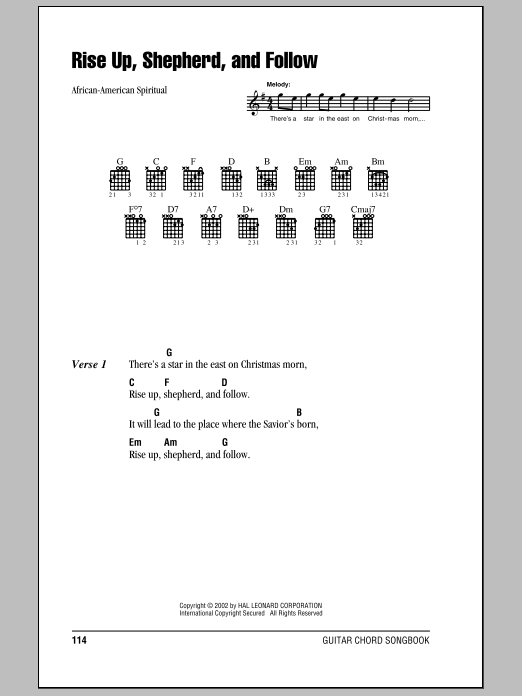Rise Up, Shepherd, And Follow sheet music by African-American ...