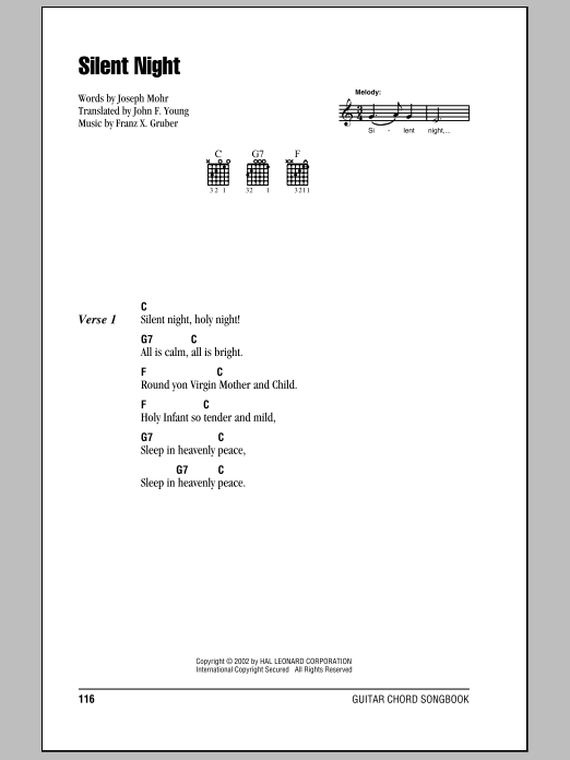 Silent Night By Joseph Mohr Guitar Chordslyrics Guitar Instructor