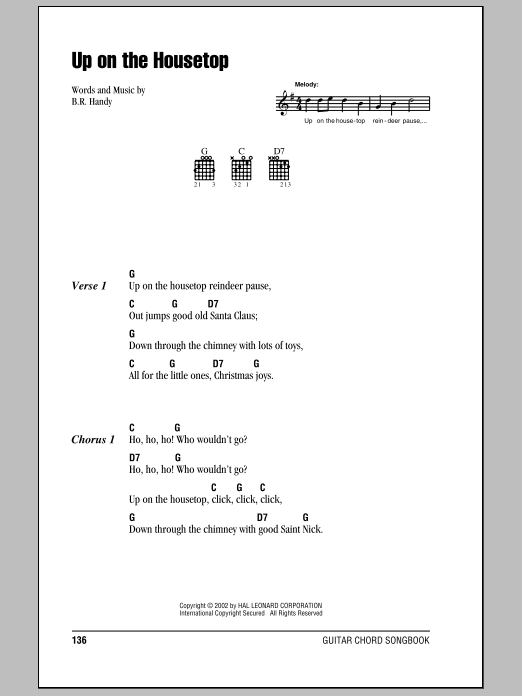 Ukulele ukulele chords up on the housetop : Up On The Housetop sheet music by B.R. Hanby (Lyrics & Chords – 80627)